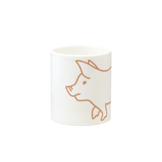 ピンク豚【線】 Mugs
