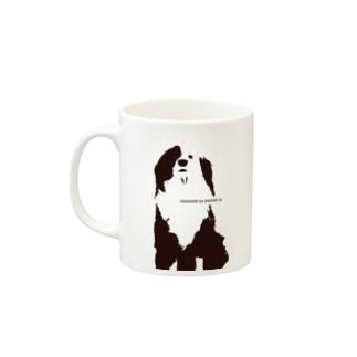 片パンダのボーダーコリーMIX Mugs