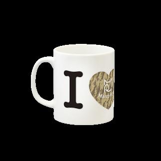 SHOP W SUZURI店のI ♥ Kiji Tora マグカップ Mugsの取っ手の左面
