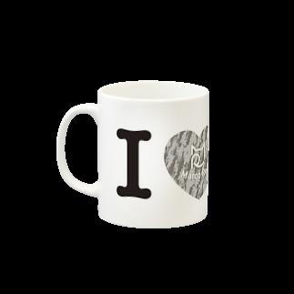 SHOP W SUZURI店のI ♥ Saba Tora マグカップ Mugsの取っ手の左面