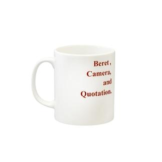 「ベレー帽とカメラと引用」グッズ Mugs