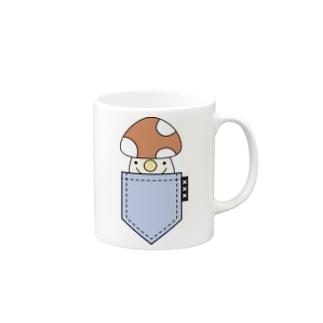 ポケットinきのこ(blue) Mugs
