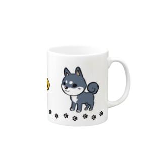 3柴犬足跡つき Mugs