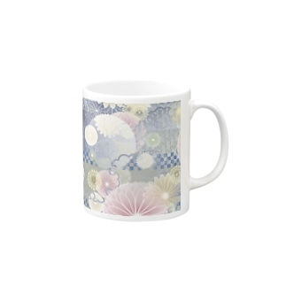 和柄マグカップ 青地に擦れ市松と花 Mugs