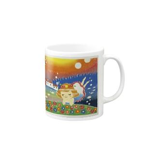 【版画】海の中のお花畑 Mugs