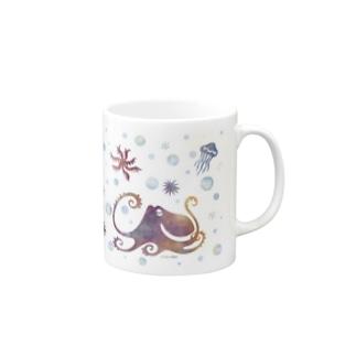 ドット蛸マグ水彩 Mugs