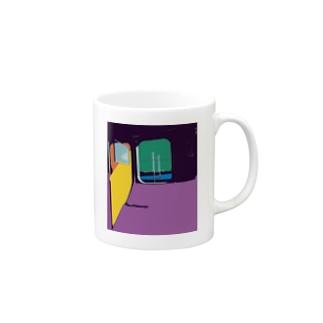 車窓_ペインティングフォト Mug