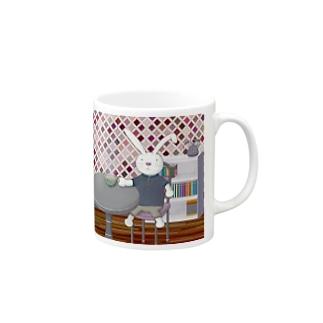カフェオレうさぎ パープル Mugs