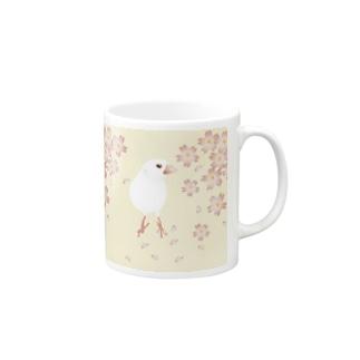 文鳥モデル:テトちゃんベージュ桜 Mugs