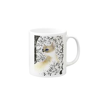 猫と唐草模様 Mug