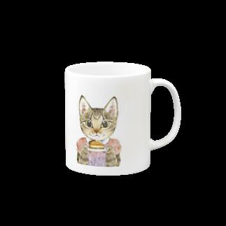 Rosemary*Teaのおちびとチャトニャン(スイーツ) Mugsの取っ手の右面
