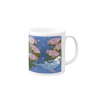 インコと紫陽花(雨降り) Mugs