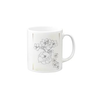 "Etoile22Chauvesourisの椿春爛漫 ""Camellia and Primavera"" Mugsの取っ手の右面"