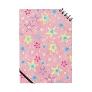 ヒトデぎっしり柄(pink) ノート
