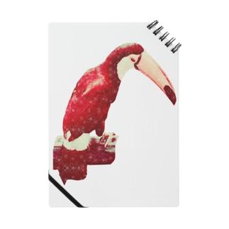 白い花柄の赤いオニオオハシ ノート