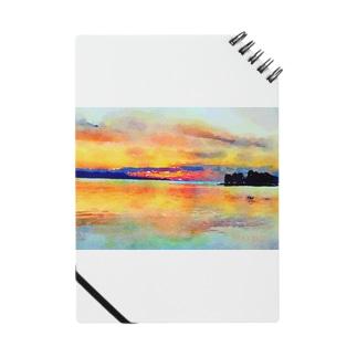 宍道湖の夕日 水彩 Notes