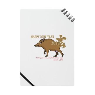 亥年の猪のイラスト年賀状 Notes