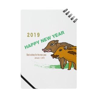 2019亥年の猪のイラスト年賀状イノシシ ノート