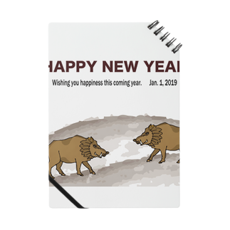 ジルトチッチのデザインボックスの2019亥年の猪のイラスト年賀状イノシシ ノート