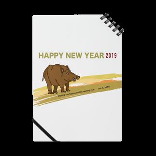 ジルトチッチのデザインボックスの2019亥年の猪のイラスト年賀状イノシシ Notes