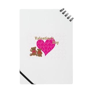 バレンタインのピンクのハートとテディーベアのカード Notes