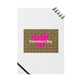 バレンタインのかわいいピンクのハートと☆印 Notes