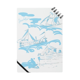 【yuruholism original】cruise ship クルーズ 帆船 船 蒸気船 水色 Notes