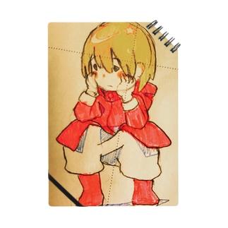 しゃがんでいる少女(イラスト 女の子 鉛筆)ふっふ Notes
