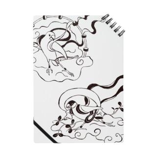 文鳥風神雷神図 モノクロ Notes