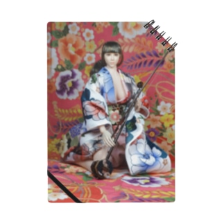 ドール写真:二胡を弾く美少女 Doll picture: Brunette Kimono girl with Erhu Notes