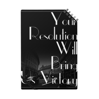 レトロなモノクロファッション「Your Resolution Will Bring Us Victory」 Notes