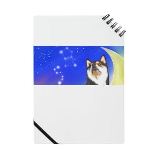 初おばぁばの(黒柴)うちのわんこchanシリーズ 月と星 横長  Notes