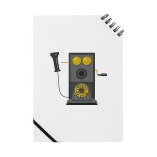 レトロな片耳受話器の片耳受話器の壁掛け電話(デルビル磁石式電話機)のイラスト  黒 受話器外しver Notes