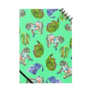 Retoro green & orange with animals Notes
