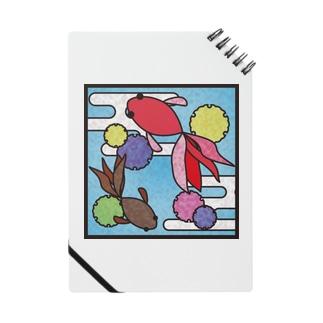 和柄ステンドグラス風(金魚×かすみ×雪の輪) Notes
