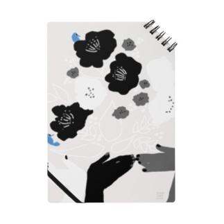 black flower & blue bird Notes