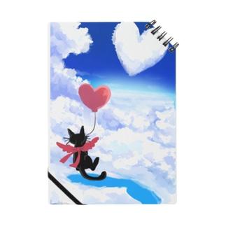 黒猫とハートの雲 Notebook