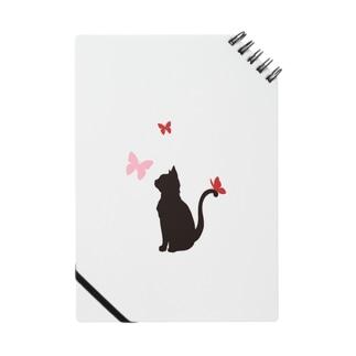 猫と蝶(赤) ノート