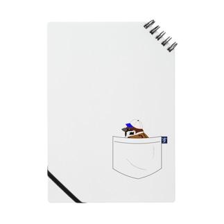 ポケットに野球帽の雀さん(青帽子)  ノート