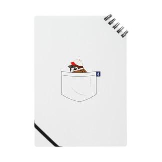 ポケットに野球帽の雀さん(赤帽子) ノート