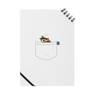 ポケットに野球帽の雀さん(緑帽子) ノート