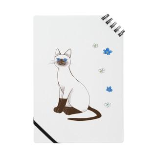 青い目の猫と勿忘草ノート Notes