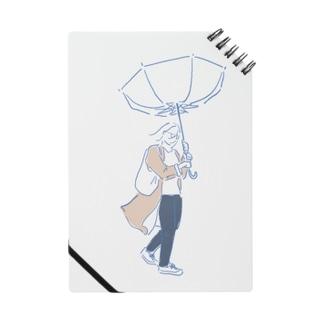 強風で傘が裏返る女の子 ノート