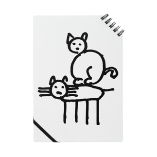 ネコの置き物の上に乗るネコ Notes