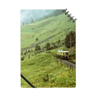 スイス:WABの登山電車が見える山岳風景 Switzerland: WAB train in mountainside Notebook
