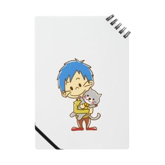 ネコを抱く男の子 ノート