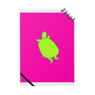カメシルエット(黄緑×濃ピンク) Notes