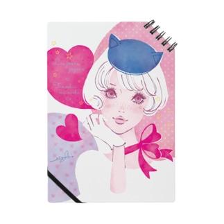 ねこ耳お帽子 Pink Notebook
