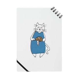 巻きしいたけ柄マキシ丈ワンピを着た猫 Notes