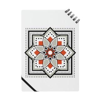 モロッカンに憧れるタイル柄・ブラック×オレンジ ノート